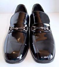VTG Mens 8.5 C Hanover Loafer Imperial Black Patent Leather Horse Bit Dress Shoe