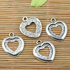 14pcs tibetan silver tone heart shaped 13x13mm cabochon setting pendants  EF1986