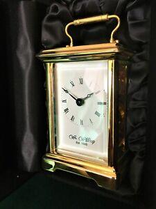 Wm. Widdop 8 Day Time Piece Brass Carriage Clock With Travel Case 5 Glass