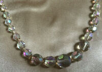 VINTAGE Rainbow Aurora Borealis Graduated One Strand Necklace Knotted String #3
