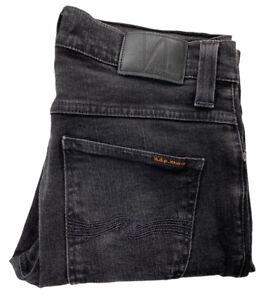 Nudie Black Grim Tim Mens Denim Jeans Size 30 Organic Stretch Cotton