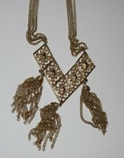 Vintage Sarah Coventry Gold Tone 1972 Runway Large Tassel Pendant Necklace