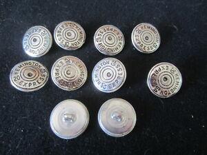 BUTTONS silver metal Kemington Express 20 GA jean lot of 10 VINTAGE