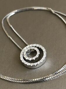 Solid 18ct White Gold Diamond Necklace 0.50ct Circle Of Life Pendant Hallmarked