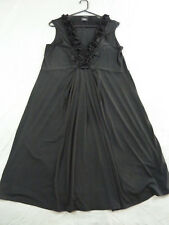 Sara 2X 20 22 Black Sleeveless Dress Ruffle Neckline