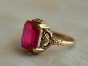 2 Ct Emerald Brilliant Cut Ruby Vintage Engagement Solid Ring 14K Rose Gold Over