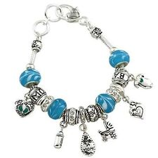 New Expectant Mom Baby Boy Blue Stroller Sliding Murano Beads Charms Bracelet