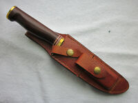 "C.Pete HEATH 10.5"" hunting knife rosewood handle w Sheath and stone, excellent !"