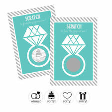 12 Aqua Blue Diamond Ring Scratch Off Cards Bridal Shower Game Q19464