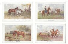 Vintage postcards x 4, working horses  'Toilers of the fields' etc C.W.Faulkner