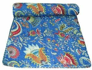 Indian Kantha Quilt Bedspread Ethnic Floral Cotton Reversible Bedding Gudri King
