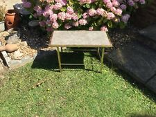 1960's Vintage Occasional Table Limestone / Fossil / Marble / Brass Legs