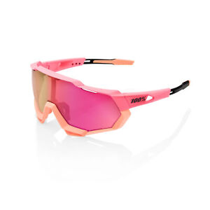 100% Sunglasses SPEEDTRAP Washed Out Neon Pink - Purple Multilayer Mirror Lens
