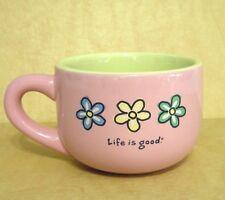 Life Is Good Mug Coffee Tea Do What You Like Like What You Do Flowers Pink Green