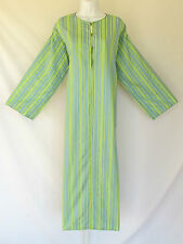VINTAGE 1960s 70s AFRICAN DRESS HOOD STRIPES FROG BUTTONS MADE IN CAIRO EGYPT