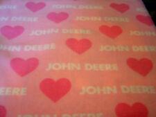 JOHN DEERE PINK HEARTS POLAR FLEECE BABY CRIB  BLANKET NEW HANDMADE FREE SHIP