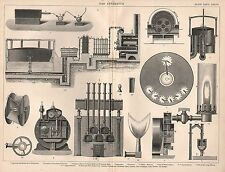 1874 PRINT ~ GAS APPARATUS DISTILLATION FURNACE UNION BURNER COOLERS ARGAND