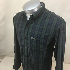 U.S. Polo Assn. Men's Sz Small LS Plaid Slim Fit Green Blue Oxford Button Down