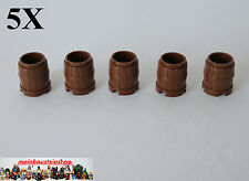 5X Lego® 2489 Fass Tonne Behälter Barrel Container altes Braun Old Brown