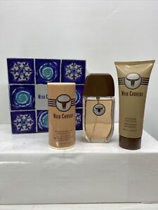 New Avon Wild Country Set Cologne 3 Oz Deodarant Talc 2.6 Oz After Shave 3.4 Oz