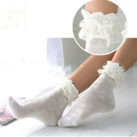 Women Girls School Short Socks Floral Lace Ruffle Frilly Ankle Sock Cotton