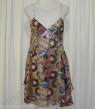 SASS&BIDE PATTERNED SILK LAYERED DRESS 40/4 (AUS 8/10) CROSSING THE LINE