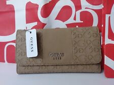 NEW GUESS AIRWAVES LOGO G WALLET BROWN