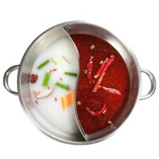 Twin Divided Hot Pot Stainless Steel Cooker Home Cookware Soup Cooking Tool 29cm