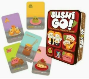 Sushi Go!  The Pick and Pass Card Game Metal Tin Box Family 8 & up Complete EUC