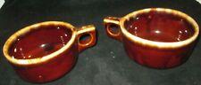 2 Vtg Pottery Brown Drip Glazed Soup Chili Mug Handle Bowls Oven Proof USA W S