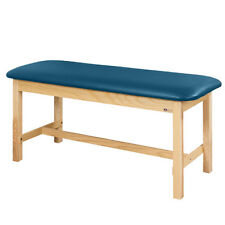 """Treatment Exam Table Flat top Wooden H-brace frame 24"""" Wedgewood"""