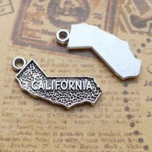 10pcs Charms California Map Shape Tibetan Silver Bead DIY Pendant 26*13mm