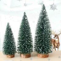 Mini Sisal Bottle Brush CHRISTMAS Tree Santa Snow Frost Village Putz House B5S1