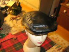 vtg  Black Leather Cabbie Newsboy Cap Hat Size Medium Made in USA