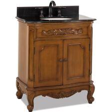 """30"""" Traditional Single Bathroom Vanity Caramel Brown + Black Granite Top Sink"""