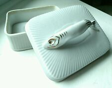 Vintage French fine Porcelain Sardine Handle 22k gold Embellished stamped #01310