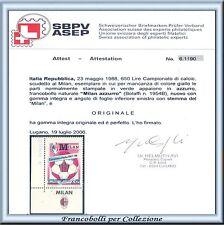 1988 Italia Repubblica Milan Azzurro app Milan Varietà Naturale Certificato **