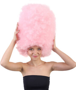 Women Super Size Jumbo Light Pink Afro Wig Halloween Cosplay Party Hair HW-1567
