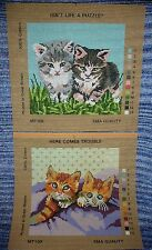 PAIR OF CAT KITTEN PUSSY NEEDLEWORK TAPESTRY PRINTED CANVASES PUZZLE AND TROUBLE