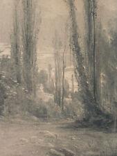Grand dessin au fusain sur toile de Auguste Allongé (1833-1898)