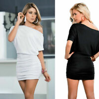 Sexy Women Stretch Tops Dress Off Shoulder Bodycon Club Party Short Mini Dress