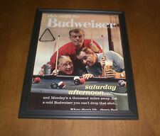 1965 Budweiser Beer Framed Color Shooting Pool Ad Print
