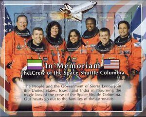 MODERN GEMS - Sierra Leone - Columbia Space Shuttle Memorial - Sheet of 7 - MNH