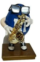 Vintage M&M's Blue Cafe Blue M&M Character Dispenser Saxophone Limited Edition