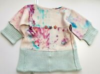 100% PURE CASHMERE GIRLS JUMPER TUNIC DRESS 4-5 Years PINK BLUE PATCHWORK  #02