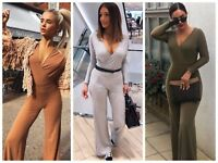 Womens Wrap Wide Leg Ribbed Long Sleeve Plunge V Neck Jersey Jumpsuit Playsuit