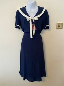 The Seamstress Of Bloomsbury Patti Dress In Navy Blue Size 12 BNWT RRP £79