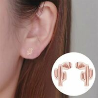 Cute Lady Stainless Steel Cactus Ear Stud Earrings Wedding Charm Jewelry Gift
