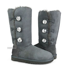 UGG Bailey Button Bling Triplet Charcoal Grey Fur Boots Womens Size 10 *NIB*