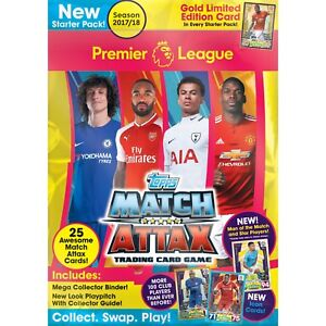 2017-18 TOPPS MATCH ATTAX EPL STARTER PACK ALBUM + 25 CARD LE GOLD